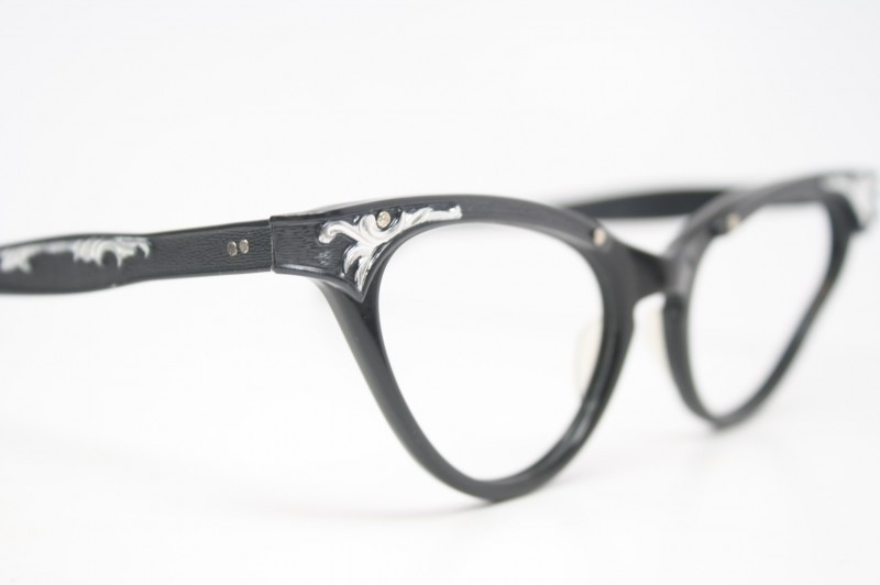 Unused Black Vintage Cat Eye Glasses With Silver Accents
