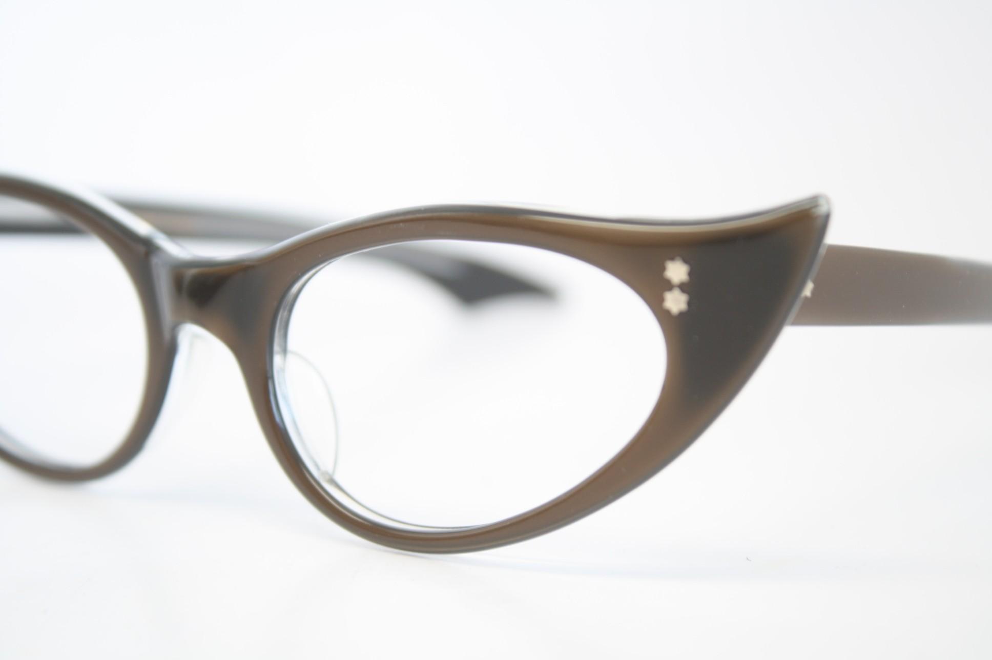 brown cat eye glasses vintage