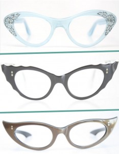 3 pairs cat eye glasses vintage