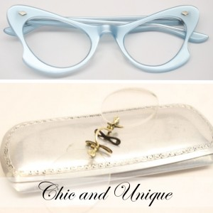 pince-nez and blue catseye glasses